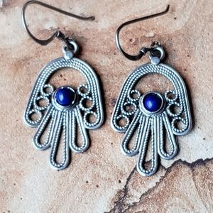 Jewelry - Sterling Silver Lapis Filigree Hand Earrings
